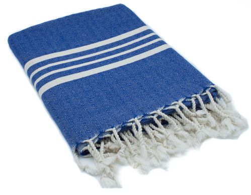 Hammam towel dark blue 4 stripes 180 x 100 cm