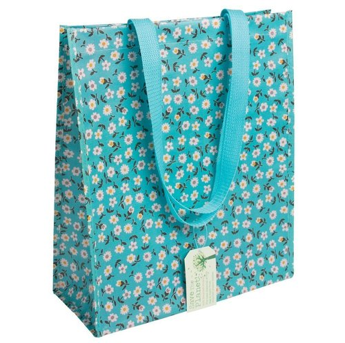 Shopper recycled plastic blauw met madeliefjes