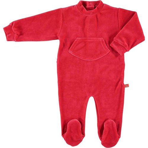 Baby playsuit red velour 74-80 cm