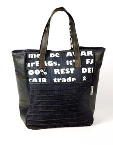Shopping bag denim and rubber
