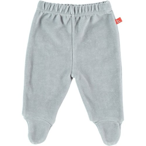 Baby trousers grey with feet velour 62