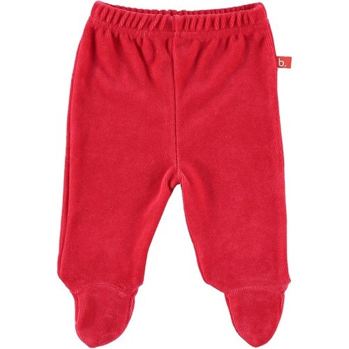 Baby trousers with feet velour red 50