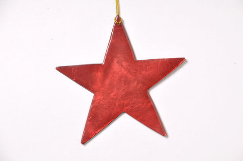 Christmas hanger 10cm capiz red star