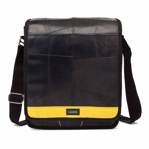 Courier bag black rubber/ yellow 28x26cm