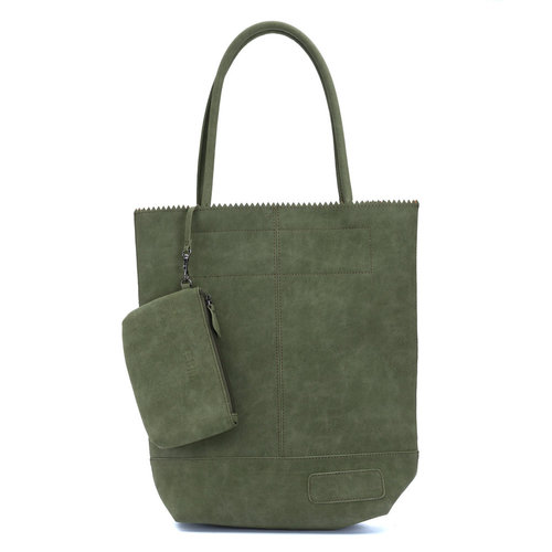 Shopper army green suede look