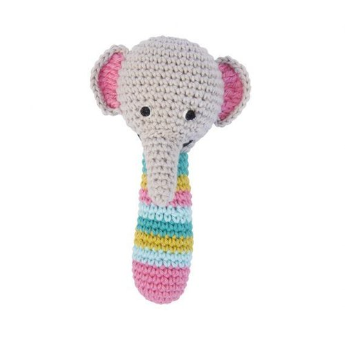 Crochet rattle grey elephant