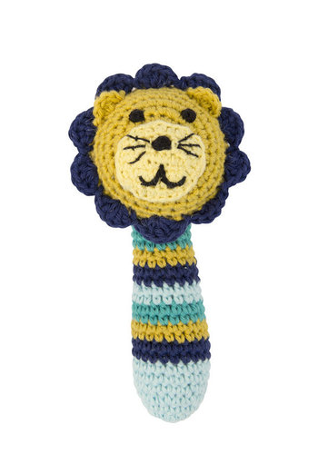 Crochet rattle yellow lion