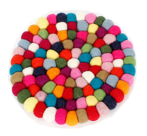 Felt coaster multicolour D20 cm