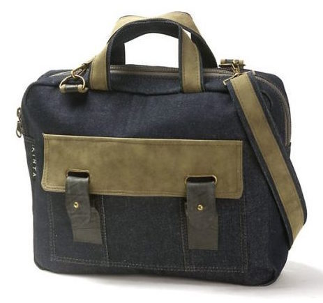 Laptop bag denim and suede-look