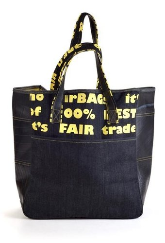 Shopping bag denim and rubber yellow