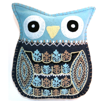 Cushion owl shape felt H 40 cm blue