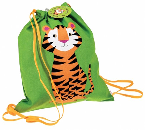 Gymbag cotton with Tiger / green