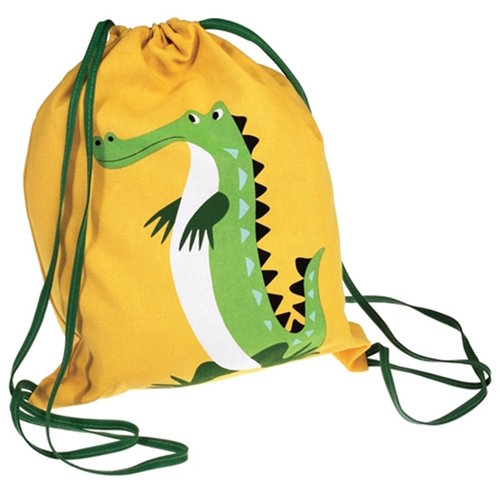 Gymbag with animal print Crocodile yellow
