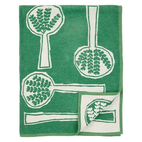 Plaid organic chenillle cotton Forest Spoon green