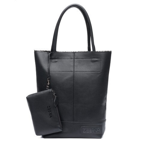 Bag serrated black imitation leather
