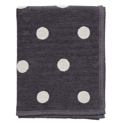 Plaid organic cotton Dotty darkgrey-ecru 180x140cm
