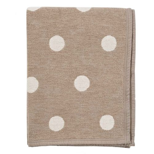 Plaid organic cotton and bamboo beige-white Dotty 180x140cm