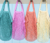 String shopping bag org. cotton diff. colours