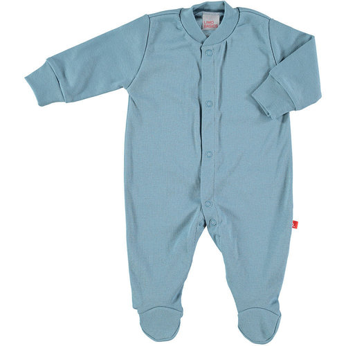 Baby body / pyjama suit with front buttons denim blue organic cotton