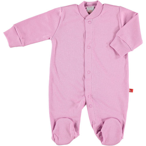 Baby body / pyjama suit with front buttons vintage pink - organic cotton
