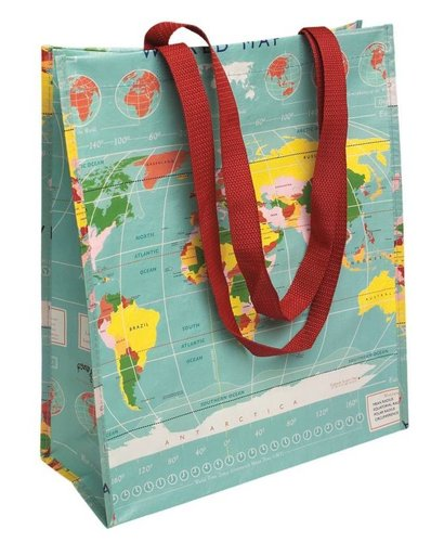 Shopper recycled plastic Vintage Worldmap