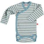 Baby body longsleeve denim blue striped organic cotton