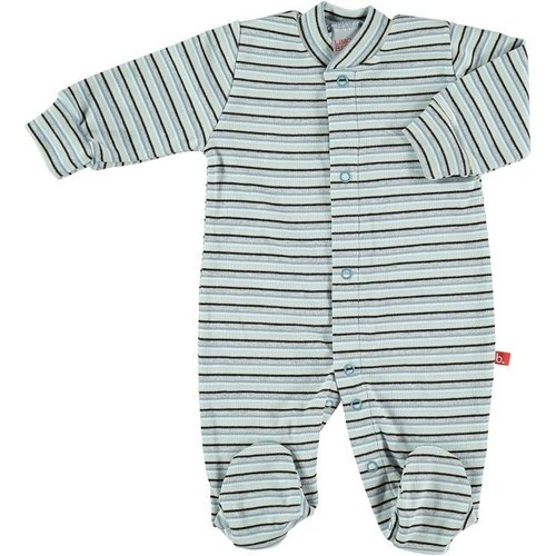 Baby body / pyjama blue striped with front buttons