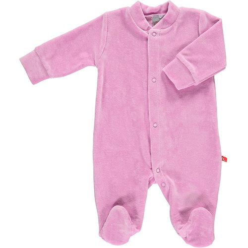 Baby playsuit front buttons organic velour Vintage Pink