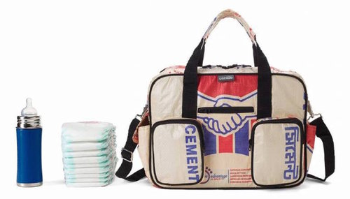 Diaper /shoulder bag 40 x 28cm recycled cementbag beige-red-blue