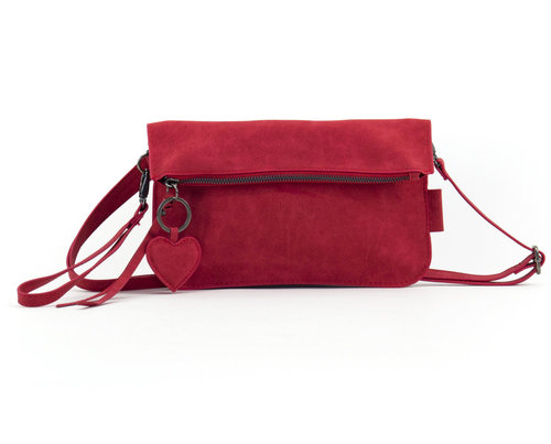 Clutch/ shoulderbag red suede look